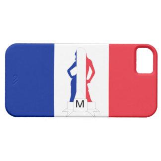 Monograma francés de la bandera y del chica funda para iPhone SE/5/5s