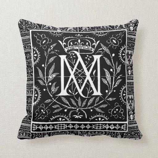 Monograma francés mA de la almohada del renacimien