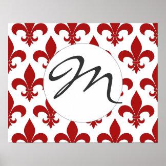 Monograma francés París de moda de la flor de lis Impresiones