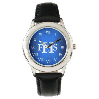 Monograma fresco (azul) relojes de pulsera