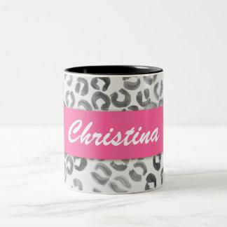 Monograma fresco del leopardo de la acuarela del taza de café de dos colores