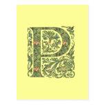 Monograma frondoso floral adornado de P Tarjeta Postal
