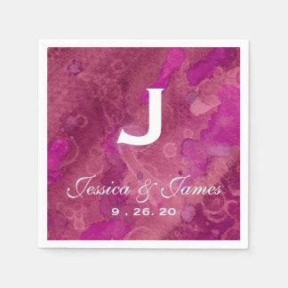 Monograma fucsia rosado del boda servilleta de papel