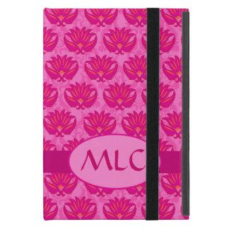 Monograma fucsia y rosado del damasco de Nouveau iPad Mini Cárcasas