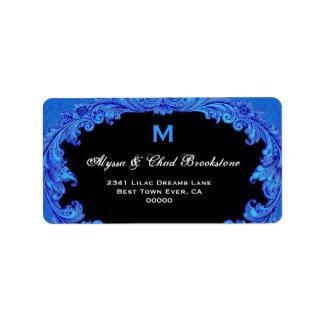 Monograma G451 del vintage del azul real y del neg Etiqueta De Dirección