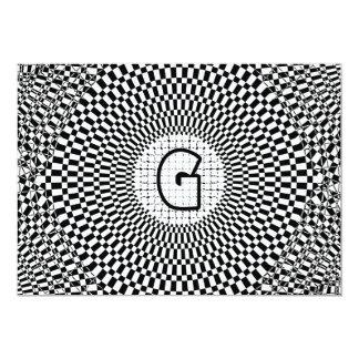 """Monograma G de la ilusión óptica Invitación 5"""" X 7"""""""