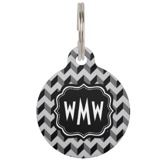 monograma, galón, zigzag, rayas, modelo, moderno, placa de mascota