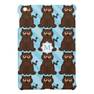 Monograma: Gatito rechoncho de Brown en azul:  cas iPad Mini Carcasa