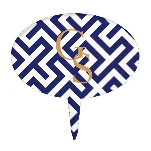 Monograma geométrico abstracto azul moderno de los decoraciones para tartas