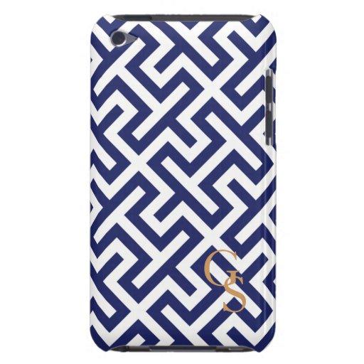 Monograma geométrico abstracto azul moderno de los iPod touch Case-Mate protector