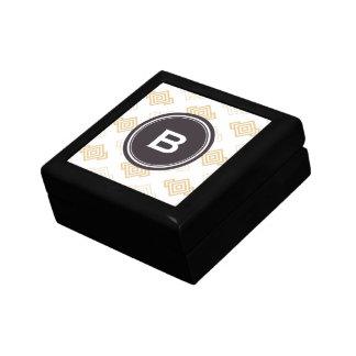Monograma geométrico abstracto beige elegante del  cajas de recuerdo