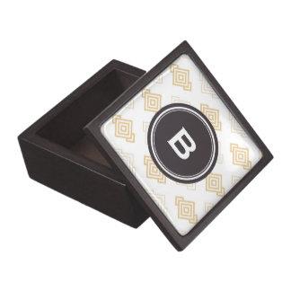 Monograma geométrico abstracto beige elegante del  caja de recuerdo de calidad