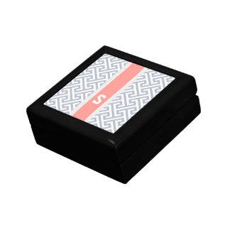 Monograma geométrico abstracto gris elegante del m caja de regalo