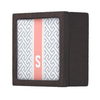 Monograma geométrico abstracto gris elegante del m caja de joyas de calidad