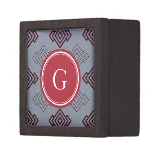 Monograma geométrico abstracto gris elegante del m caja de recuerdo de calidad
