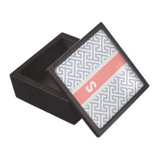 Monograma geométrico abstracto gris elegante del m cajas de joyas de calidad