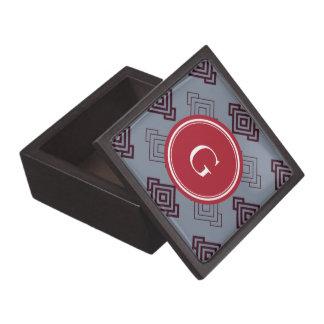 Monograma geométrico abstracto gris elegante del m caja de regalo de calidad