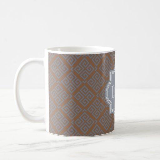 Monograma geométrico abstracto marrón elegante del tazas de café