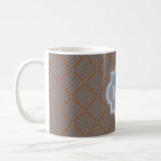 Monograma geométrico abstracto marrón elegante del taza clásica