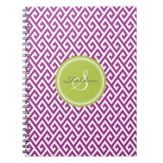Monograma geométrico abstracto púrpura elegante de cuaderno