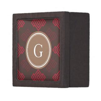 Monograma geométrico abstracto rojo elegante del m cajas de joyas de calidad