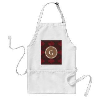 Monograma geométrico abstracto rojo elegante del m delantal