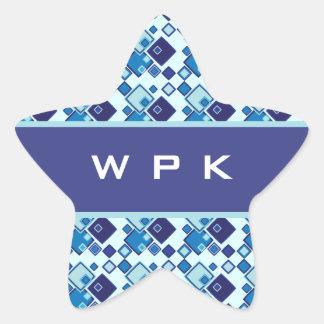 Monograma geométrico azul de los cuadrados pegatina en forma de estrella