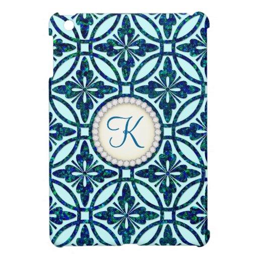 Monograma geométrico azul del modelo de Bling iPad Mini Protectores