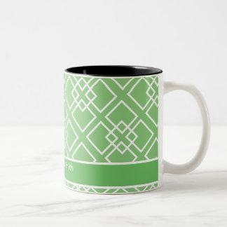 Monograma geométrico blanco verde del modelo tazas