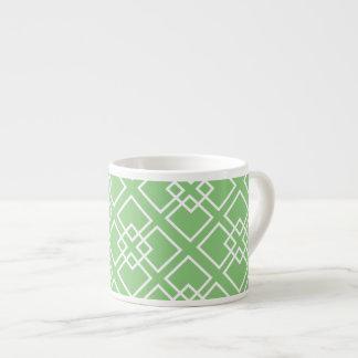 Monograma geométrico blanco verde del modelo tazitas espresso