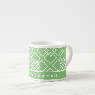 Monograma geométrico blanco verde del modelo tazita espresso