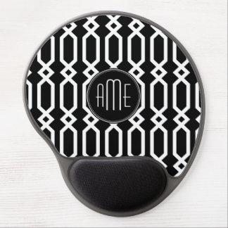Monograma geométrico blanco y negro del personaliz alfombrilla de raton con gel