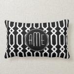 Monograma geométrico blanco y negro del personaliz almohada