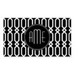 Monograma geométrico blanco y negro del personaliz tarjetas de visita