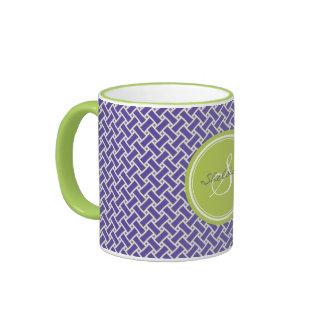 Monograma geométrico del modelo de la raspa de are taza de café