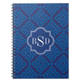 Monograma geométrico dominante griego azul elegant libro de apuntes con espiral