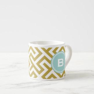 Monograma geométrico dominante griego de los taza espresso