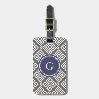 Monograma geométrico dominante griego gris elegant etiqueta de maleta