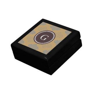 Monograma geométrico dominante griego marrón elega caja de joyas