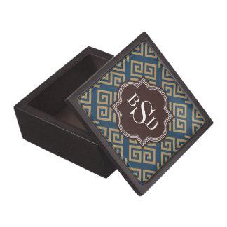 Monograma geométrico dominante griego marrón elega cajas de regalo de calidad