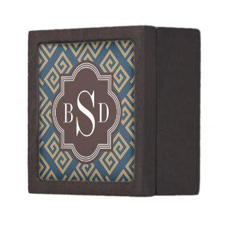 Monograma geométrico dominante griego marrón elega caja de joyas de calidad