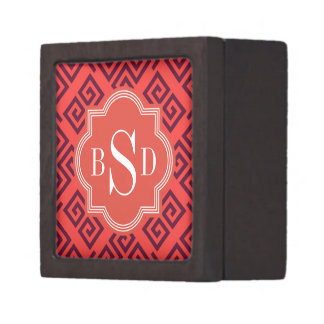 Monograma geométrico dominante griego rojo elegant caja de joyas de calidad
