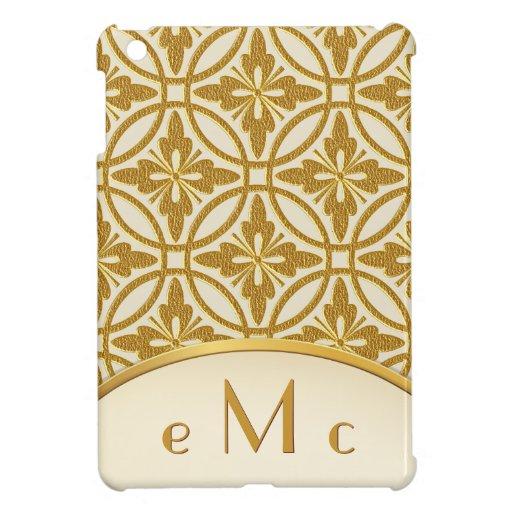 Monograma geométrico floral del oro