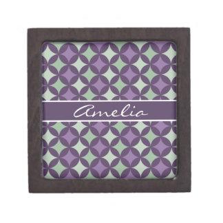 Monograma geométrico púrpura moderno del modelo cajas de recuerdo de calidad