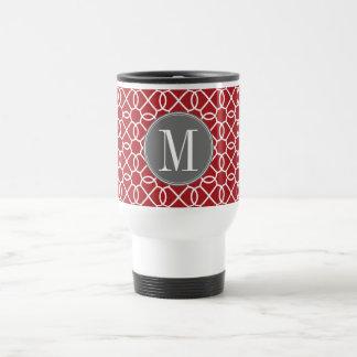 Monograma geométrico rojo y gris del modelo tazas de café