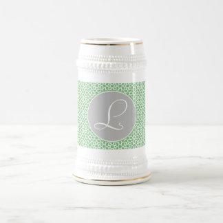Monograma geométrico trazado marroquí gris y verde tazas de café