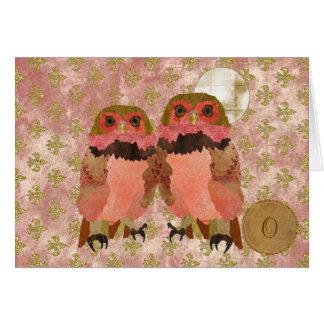Monograma gitano rosado de oro Notecard de los búh