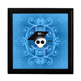 Monograma gótico lindo de la graduación del cráneo joyero cuadrado grande