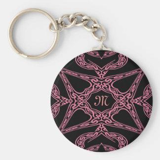 Monograma gótico M del misterio rosado Llaveros Personalizados