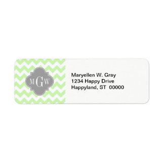 Monograma gris blanco de Chevron Quatrefoil 3 del Etiquetas De Remite